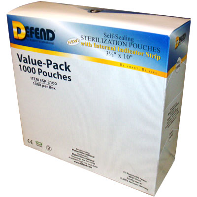 "Defend 1000 Self-Sealing Sterilization Pouches 3.5"" x 10"""