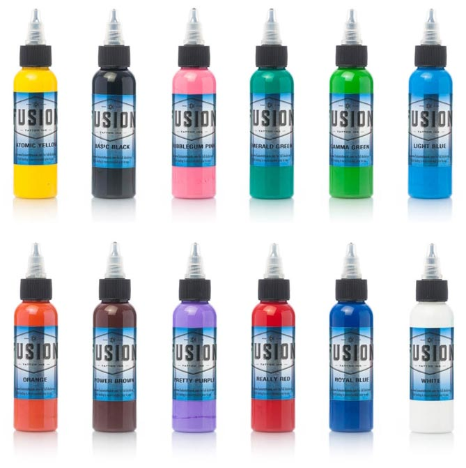 Fusion Tattoo Ink 12 Color Sample Pack