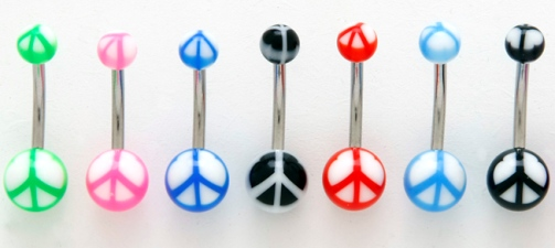 Peace Sign UV Belly Button Ring