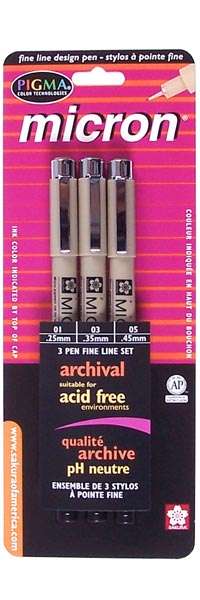 Pigma Micron Black Asst Tips 3pk - BLACK ink