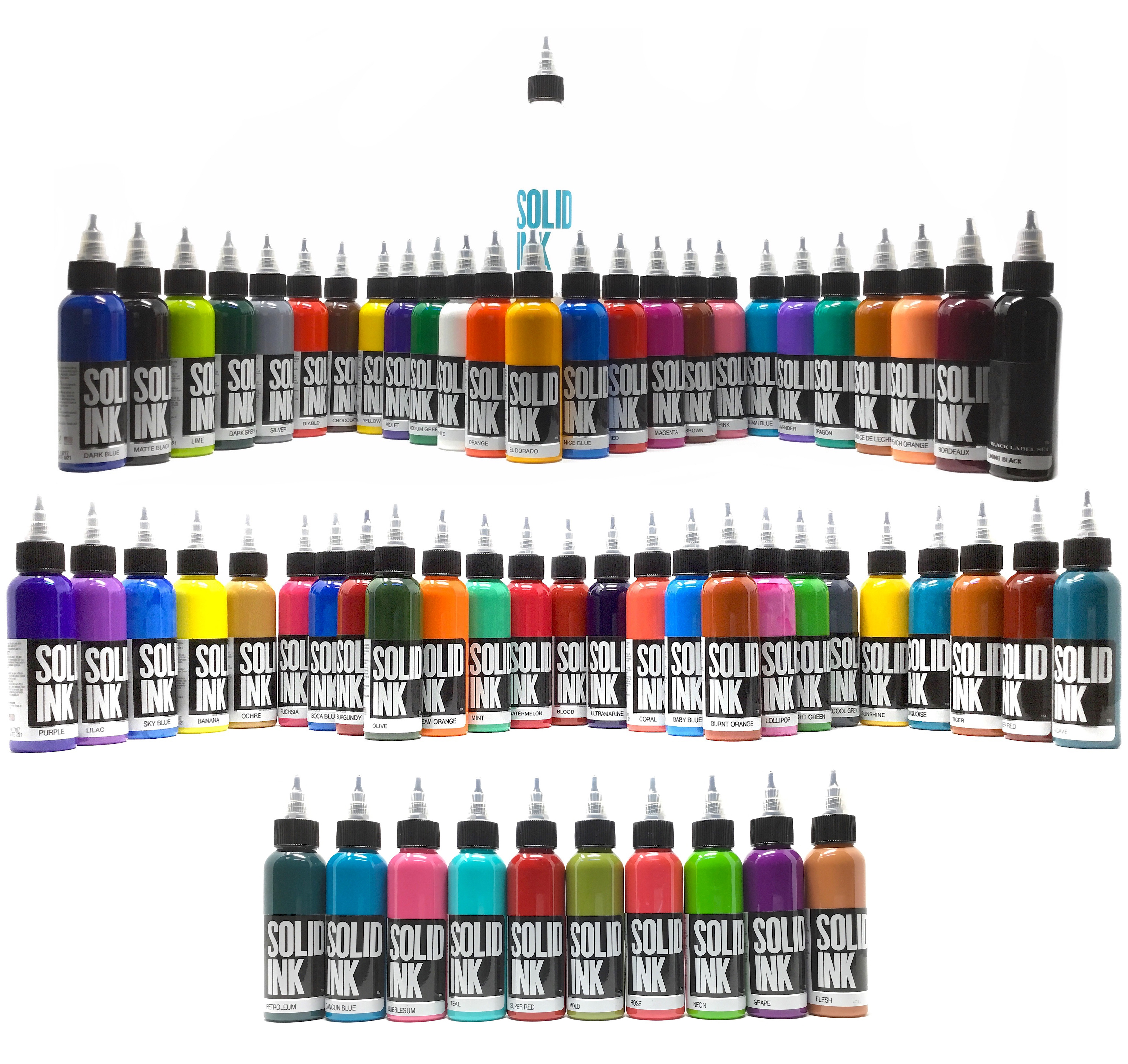 Solid Tattoo Ink 60 Color Mega Set in 1oz. bottles