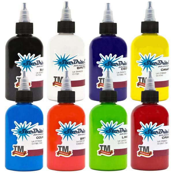 StarBrite Tattoo Ink 8 Color Primary Set