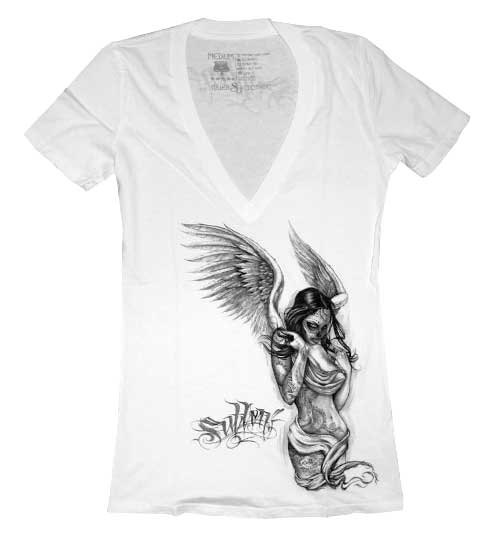Sullen Girl Fallen Angel V-Neck White