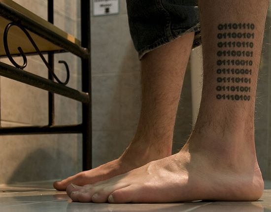 Binary encoded tattoo!