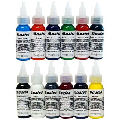 "Skin Candy 12 Color ""Basics"" Tattoo Ink Set. These are the perfect inks for"